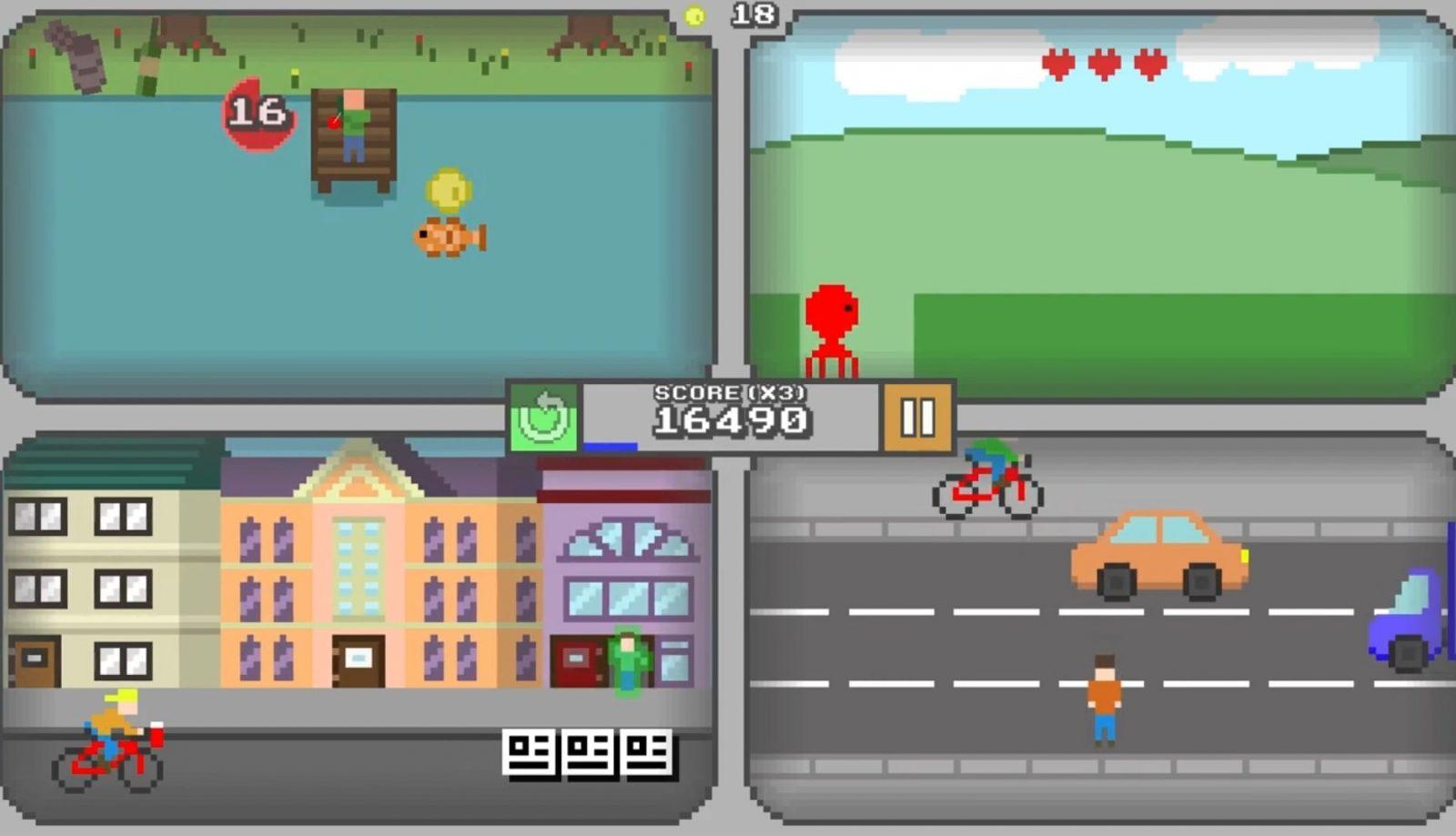 Четыре игры на одном экране - Quadracade